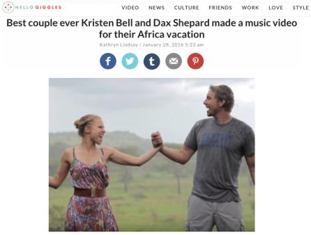 Kristen Bell and Dax Shepherd - Africa